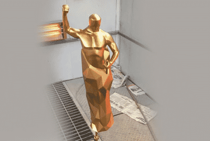 3D Printed SLA Golden Trophy For An Award Party