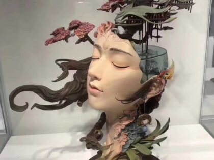 PolyJet 3D Printed Goddess Head Statue For Art Exhibition