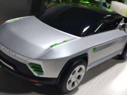 SLA 3D Printed Model Car Painted with Chrome Spray