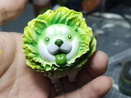 SLA 3D Printed and Fine-painted Cabbage Dog Miniature Toys