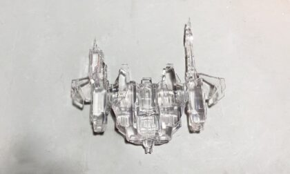 SLA 3D Printed Transparent Spaceship Model with Clear Resin