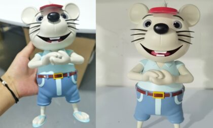 SLA 3D Printed 25cm Rat in a Hat Model using ABS-like Resin
