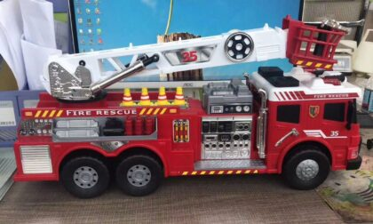 SLA 3D Printed and Assembled Scale-down Fire Rescue Truck Toy Model
