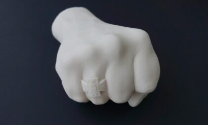 SLS 3D Printed White Nylon Fist Model using PA 12