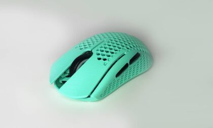 SLS 3D Printed and Tinted Blue-Green Logitech UL2 Nylon Mouse Shell